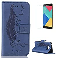 CaseHome Embossed Leather Samsung Galaxy A5 2016/A510F Case [with Free Screen Protector],Wallet Design with Credit Card Slots and Cash Holder Book Style Folio Flip Magnetic Closure Stand Feature Built-in Soft Rubber Black Bumper Full Body Protective Folding PU Leather Case Cover Skin Shell for Samsu