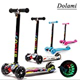 Twist & Roll Scooter Kinder Roller tretroller Kickscooter 3 räder mit LED Licht + Protektoren set freestyle mini cityroller fun scooter(Für 3-10 Jahre)in Graffiti Mehrfarbig