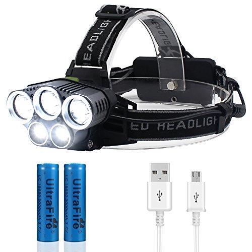 Jirvyuk Lampe Frontale Puissante avec 5 LED de 8000 lumens, Lampe Torche LED Zoomable et Étanche avec 2 x 18650 Batterie Rechargeable de Protection contre Surcharge