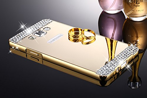 CLASSICO DIAMOND Luxury Aluminium Bumper Plus Mirror Acrylic Back Cover For Samsung Galaxy J7 Old EDITION(GOLD)