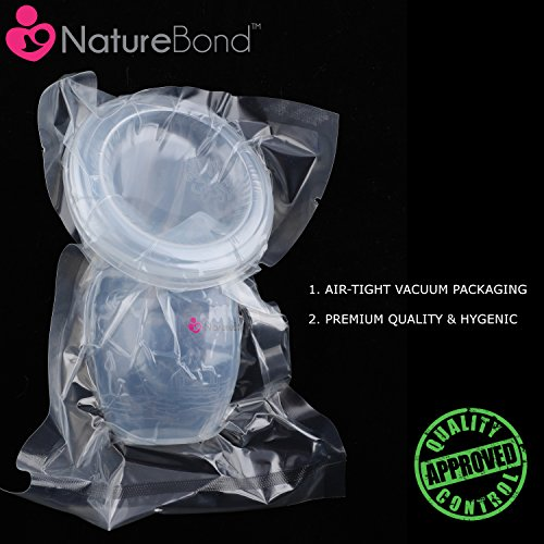 NatureBond Silicone Breastfeeding Manual Breast Pump Milk Saver Suction | All-In-1 Lid, Carry Pouch, Air-Tight Vacuum Sealed in Hardcover Gift Box. BPA Free & 100% Food Grade Silicone
