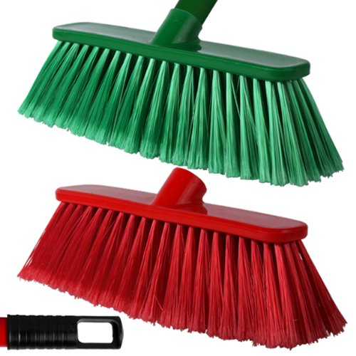 2-pack-of-28cm-red-green-soft-deluxe-floor-sweeping-brush-brooms-with-120cm-handle-comes-with-tch-an