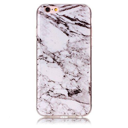 "Coque iPhone 6s, SsHhUu Ultra Mince [Marbre Pattern] Flexible Caoutchouc Doux TPU Skin Case Bumper Silicone Gel Anti-Scratch Cover pour Apple iPhone 6 / 6s (4.7"") Rose-Blanc-Noir Blanc"