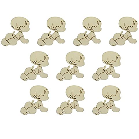 Hysagtek 10pcs Wooden Blank Baby Shapes Tags Craft Card Making Ideal For Scrapbooking, Gift Tags, Christmas, Weddings Or Hanging Art