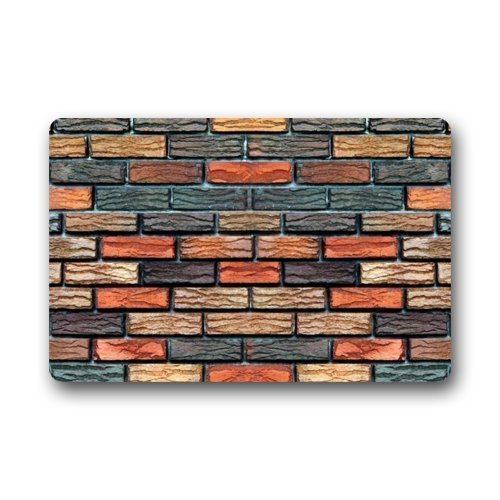 ferfgrg Quick Drying Waterhog Door Mat - Personalize with Brick Wall Pattern Doormat Red Brick Pizza