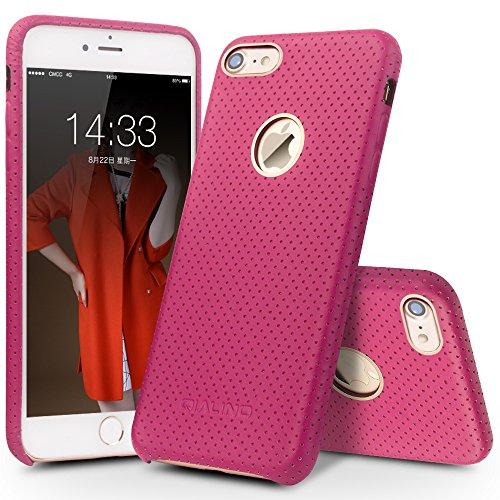 iPhone 7Coque, Qialino iPhone 7Coque arrière en cuir véritable, anti-rayures de protection mince Coque bumper pour Apple iPhone 711,9cm–Noir iPhone 7 Plus,Rose iPhone 7,Rose