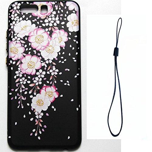 Coque pour Huawei P10 Plus,Étui Huawei P10 Plus Case,ETSUE Coque Huawei P10 Plus Slicone TPU Cover Housse de Téléphone avec Joli FleurTournesol fleur de pêcher en Relief ave Fond Noir Ultra Mince Coqu Rose Fleur 4#