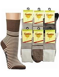 3 Paar Viskose Socken für Damen mit extrabreitem Piqué Komfortbund Ringel