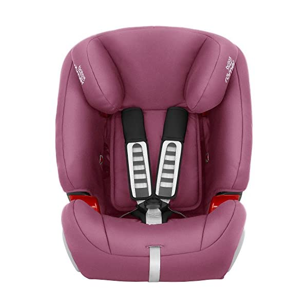 Britax Römer EVOLVA 1-2-3 Group 1-2-3 (9-36kg) Car Seat - Wine Rose  The EVOLVA 1-2-3 grows with your child as it can be used for children from 9 kg to 36 kg. This makes it the only car seat you'll need after an infant carrier Highback booster protection - As your little one grows, you can easily switch from the integral harness (up to 18 kg) to using the car's 3-point seat belt (up to 36 kg) to secure the child in the seat.  The upper and lower belt guides will provide correct positioning of the seat belt Recline position for all ages - the recline position provides a comfortable sleeping position for your child. simply adjust the seat before fitting it in your car 3
