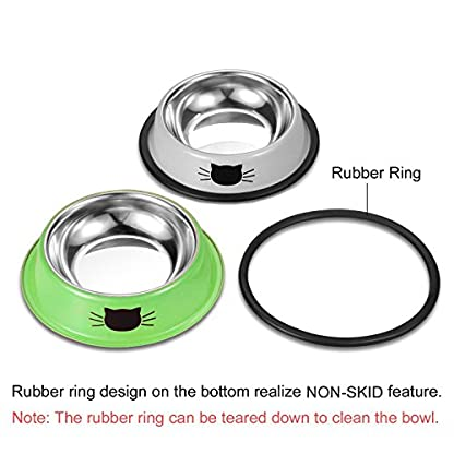 Comsmart Cat Bowl, Anti-slip Cat Food Bowl/Cat Feeding Bowl/Cat Water Bowl, Multi-purpose Double Pet Feeding Bowl (White… 4