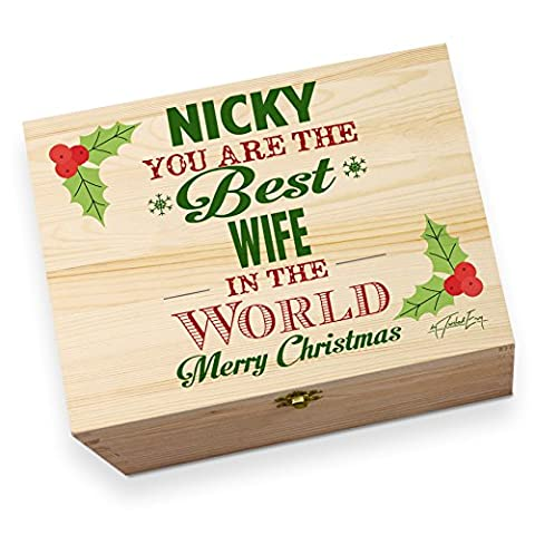 personalisierbar Best Husband Weihnachten großes Rustikales bedruckt Christmas Eve