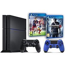 Pack PS4 500Go + 2ème manette bleue + Uncharted 4: A Thief's End + Fifa 16