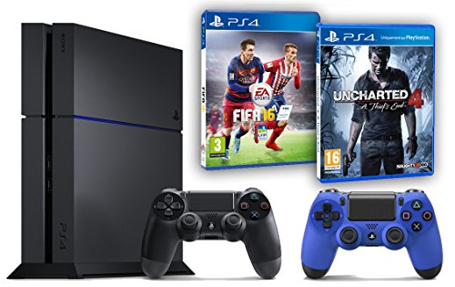 Pack PS4 500Go + 2ème manette bleue + Uncharted 4: A Thief's End + Fifa 16