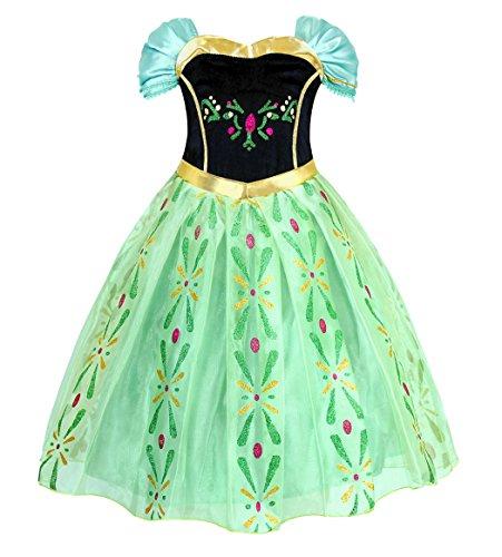 AmzBarley Anna Kostüm Kinder Mädchen Prinzessin Kleid Krönung Eiskönigin Dick Kleider Halloween Cosplay Geburtstag Party Verrücktes Kleid Karneval Ankleiden Winter Kleidung