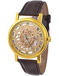 KMS Analogue Gold Dial Women's Watch - Brown_Transparent_GoldDial