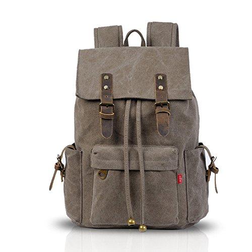 FANDARE Retro Laptop Notebook Rucksack Geeignet für bis zu 16 Zoll Damen Herren Schulrucksack für die Schule Wandern Daypack Leinwand Dunkelgrau -