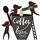 Pegatina de pared de cocina Coffee Break con azúcar cucharas y figuras motivo de la cocina para pegar comedor mesa de comedor muffin bizcochos pasteles café lounge XXL