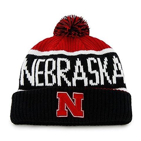 Nebraska Cornhuskers Black Cuff Calgary Beanie Hat with Pom - NCAA Cuffed Winter Knit Toque Cap by '47