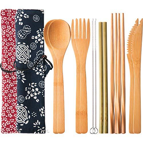 2 Sets Wiederverwendbarer Bambus Utensilien Reise Besteck Set mit Etui, Gabeln Messer Essstäbchen Löffel Strohhalme und Bürsten, Camping Besteck Set (Muster 1)