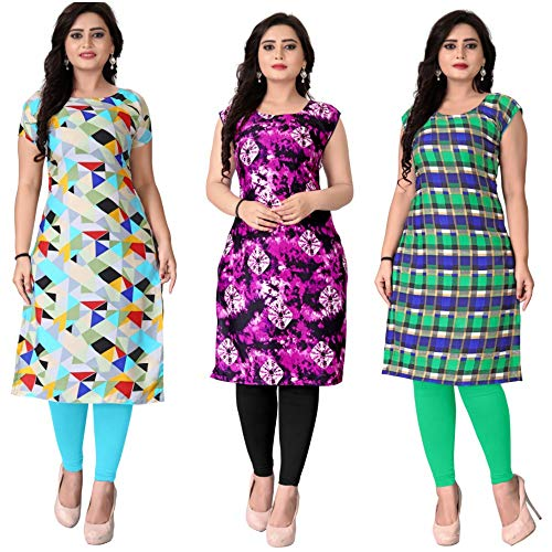 Pramukh Fashion Women\'s crepe Semi-stitched kurti(M-177_Multicolour_Free Size)