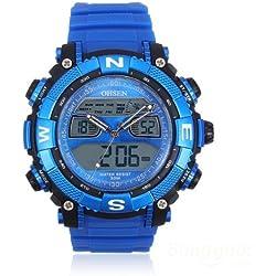 OHSEN YI-AD1315-3 Quartz Men Wrist Watch Round Fashion Silicone Dual Display Blue