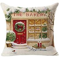Funda de cojín de Navidad, de Sonnena, de lino, diseño cuadrado