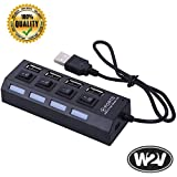 World2view™ High Quality 4 Port Ultra High Speed USB Hub 480 Mbps For Laptop Desktop 2.0 Hub With Individual On/Off Power Switches And LEDs (4 Port Hub Black & White