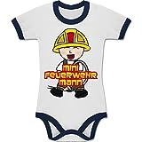 Shirtracer Feuerwehr Baby - Mini Feuerwehrmann - 12-18 Monate - Weiß/Navy Blau - BZ19 - Zweifarbiger Baby Strampler für Jungen und Mädchen