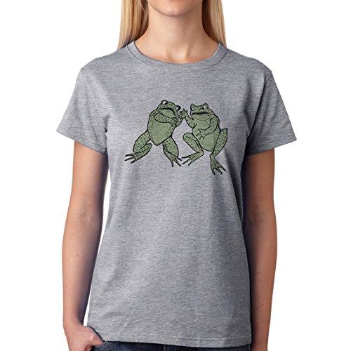 Two Frogs Fighting Green Angry Damen T-Shirt Grau