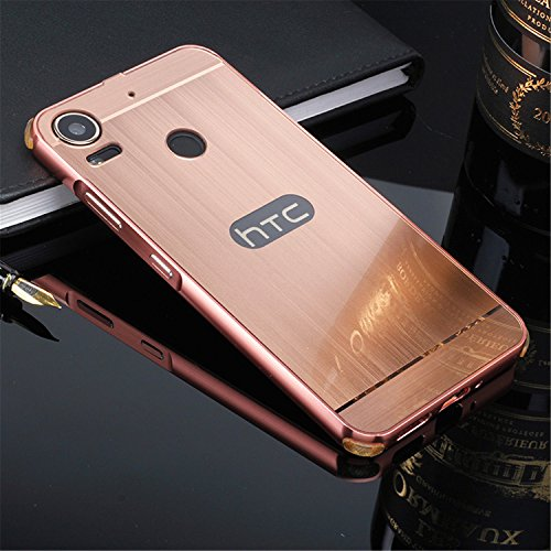 D-kandy Luxury Metal Bumper + Acrylic Mirror Back Cover Case For HTC DESIRE 10 PRO - Rose Gold