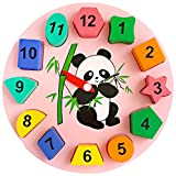 Trinkets & More™ - Geometric Shape Sorter Clock | Panda Themed Wooden Puzzle | Early Education Toys Kids 3+ Years