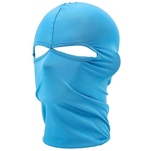 UTOVME Multifunktionen Gesichtsmaske aus Lycra 2 Loecher Sport Balaclava Einfarbige Maske Warm Fahrrad Ski Snowboard Blau