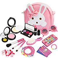 KASU 19Pcs Pretend Play Makeup Set - Fake Cosmetic Toys Kit with Pink Rabbit Purse, Smartphone, Sunglasses, Necklace & Bracelet, Birthday Gift for Little Girls - Pink