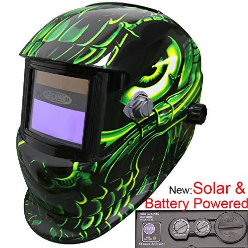 Leopard {Extraterrestre} Énergie Solaire & Batterie, Grande Vue, Assombrissement Automatique, Fonction de Broyage Masque de Casque de Soudage