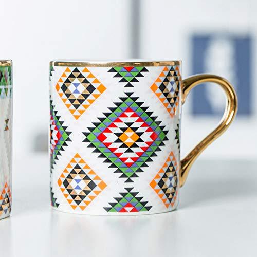 Dong Taza Grande De Porcelana Café Y Té Con Tapa, Taza De Cerámica para Beber Ancha Con Mango, Multi Color