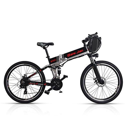 M80 Bicicleta plegable de 21 velocidades 48V * 350W Suspensión doble de bicicleta eléctrica de montaña de 26 pulgadas con pantalla LED 5 pedales de asistencia (Batería doble Rueda de radios negro)
