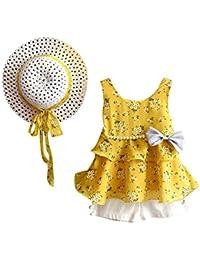Jimmackey 3pcs Neonata Bambine Abiti Floreali Chiffon Gilet T-Shirt Cime + Tassle Pantaloncini+ Cappello Set