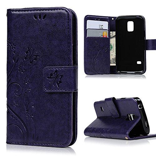 MAXFE.CO Lederhülle Leder Tasche Case Cover für Samsung Galaxy S5 Mini Hülle PU Schutz Etui Schale Lila Muster Design Backcover Wallet mit Standfunktion und Magnetverschluß Etui Flip Case