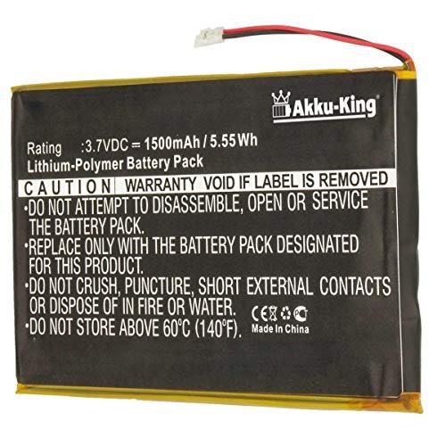 Akku-King Akku kompatibel mit Barnes & Noble PR-285083 - Li-Polymer 1500mAh - für Barnes & Noble BNRV510 Nook Glowlight Plus 2015, KOBO Glo HD