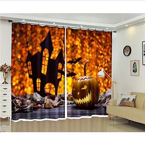Fandhyy Wärmeisolierende Verdunkelungsvorhänge, 3D-Halloween-Fenstervorhang, Wohnzimmer Kinderzimmer Office Blackout Gedruckte Vorhänge Mit Haken Und Ösen
