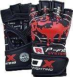 RDX MMA Handschuhe Profi Rindsleder Grappling UFC Sparring Kampfsport Sandsackhandschuhe Trainingshandschuhe(MEHRWEG)