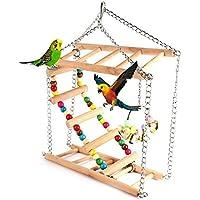colorato in legno durevole blocchi appesi Bead String Bite Molare grande medio e piccolo Pet Bird Stand Rack Play giocattolo pappagallo forniture Giocattolo da masticare per uccelli Forniture per l'istruzione Casette giocattolo