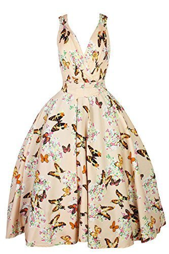 Donna Vintage Rockabilly Pin Up Abito Swing Vestito Fiori E Farfalle Cream 16