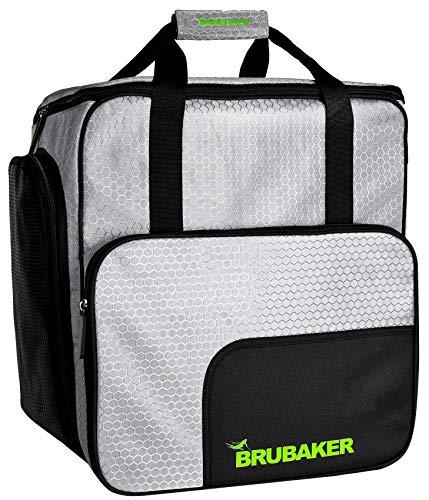 Brubaker SuperTec Skischuhtasche Helmtasche Rucksack mit Schuhfach - Silber Grün