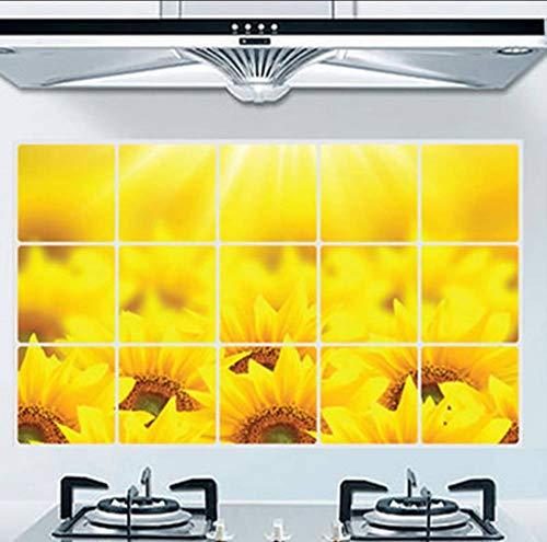 Adesivo Da Parete A Prova Di Olio Da Cucina Girasole Impermeabile Poster Murale Home Decor Carta Da Parati Prevenire Alte Temperature Wall Art Decal75X45Cm