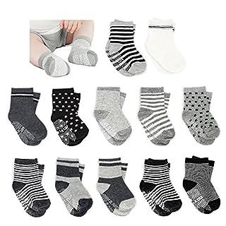 Amteker 12 Pairs Toddler Boy Anti-Skid Socks, High Quality Cotton, Dark Colour Socks, Baby Boy Socks, ldeal Gift