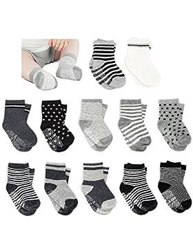 Amteker 12 Paar Baby Socken, Anti Rutsch Socken Baby aus Baumwolle, 10-36 Monate Baby Mädchen und jungen Baby...