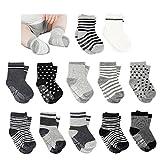 Amteker 12 Paires de Chaussettes Antidérapant pour les Bébé de 10-36 Mois
