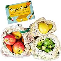 EcoYou Extra Stabile Obst- und Gemüsebeutel 3er Set (S,M,L) mit Gewichtsangabe - Wiederverwendbare Einkaufsnetze aus Baumwolle INKL. SAISONKALENDER - Gemüsenetze für den plastikfreien Einkauf