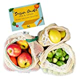 EcoYou Extra Stabile Obst- und Gemüsebeutel 3er Set (S,M,L) mit Gewichtsangabe - Obstnetz Wiederverwendbar Gemüsenetz aus Baumwolle | INKLUSIVE SAISONKALENDER - Einkaufsnetz für den plastikfreien Einkauf